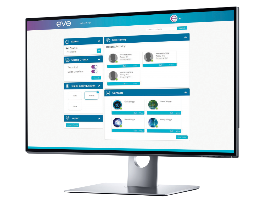 eve Networks - eve Voice user dashboard